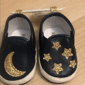 Rising Star Size 1 Navy moon & star baby shoes